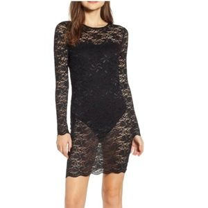 LEITH Black Lace Overlay Body-Con Dress